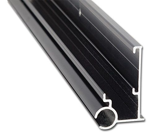 black aluminum gutter with awning rail