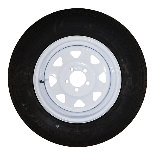 """5 bolt white spoke steel rim on 15"""" tire"""