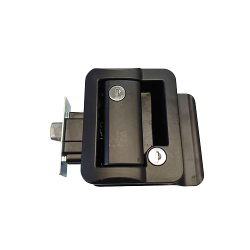 rv entry door paddle lock in black
