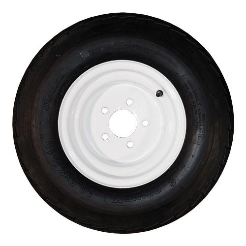 20.5x8-10 trailer tire on 5 bolt white rim