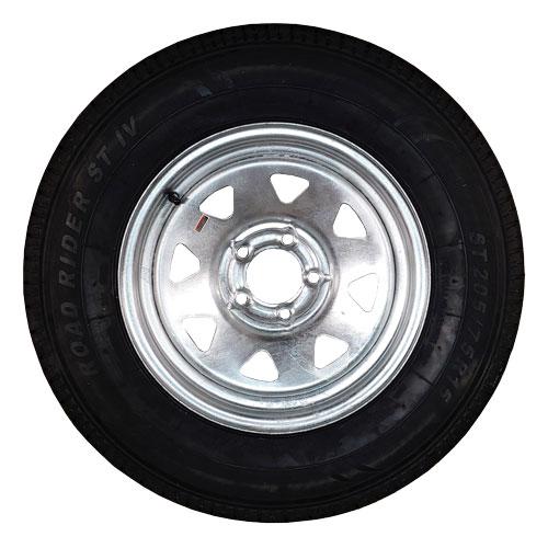 st205/75r15 trailer tire on 5 bolt galvanized rim