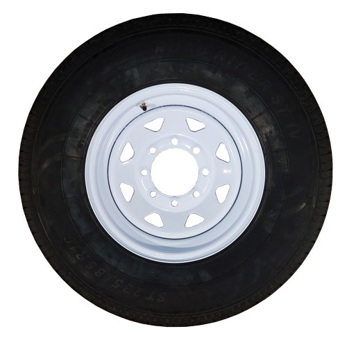 st235/80r16 trailer tire on 8 bolt white rim
