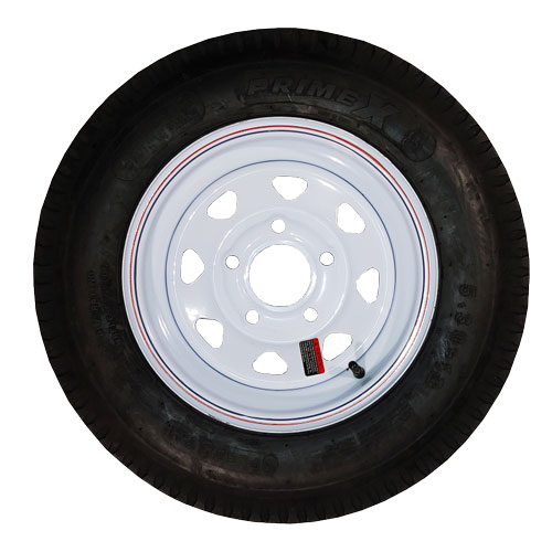 5.30-12 trailer tire on white 5 bolt rim