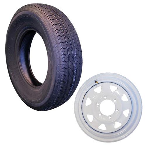 st205/75r15 trailer tire on 6 bolt white rim
