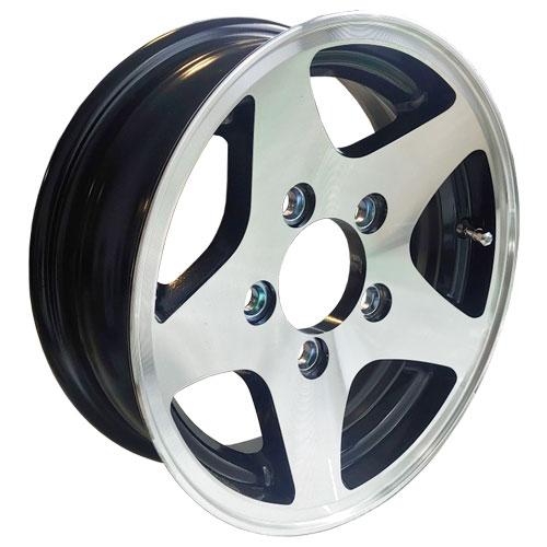 """12"""" aluminum trailer rim with black inlay"""