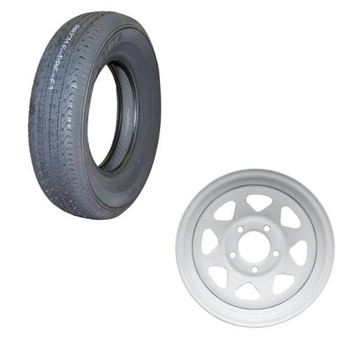 """goodride 13"""" trailer tire mounted on white steel rim"""