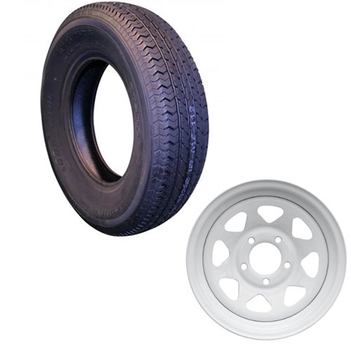 st205/75r15 tire assembly with 5 bolt white rim