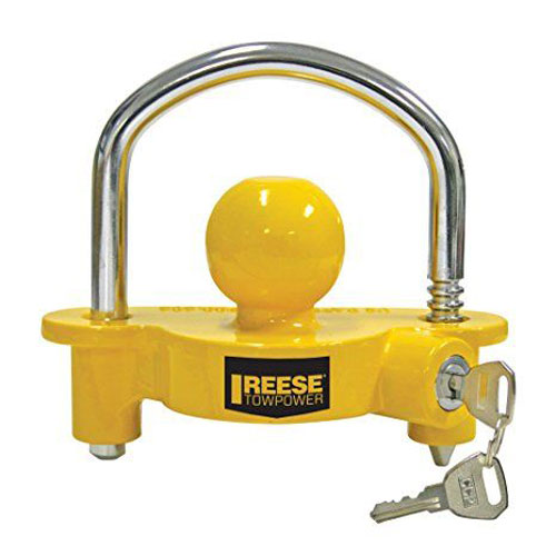 yellow trailer coupler lock by reese. protect your trailer.